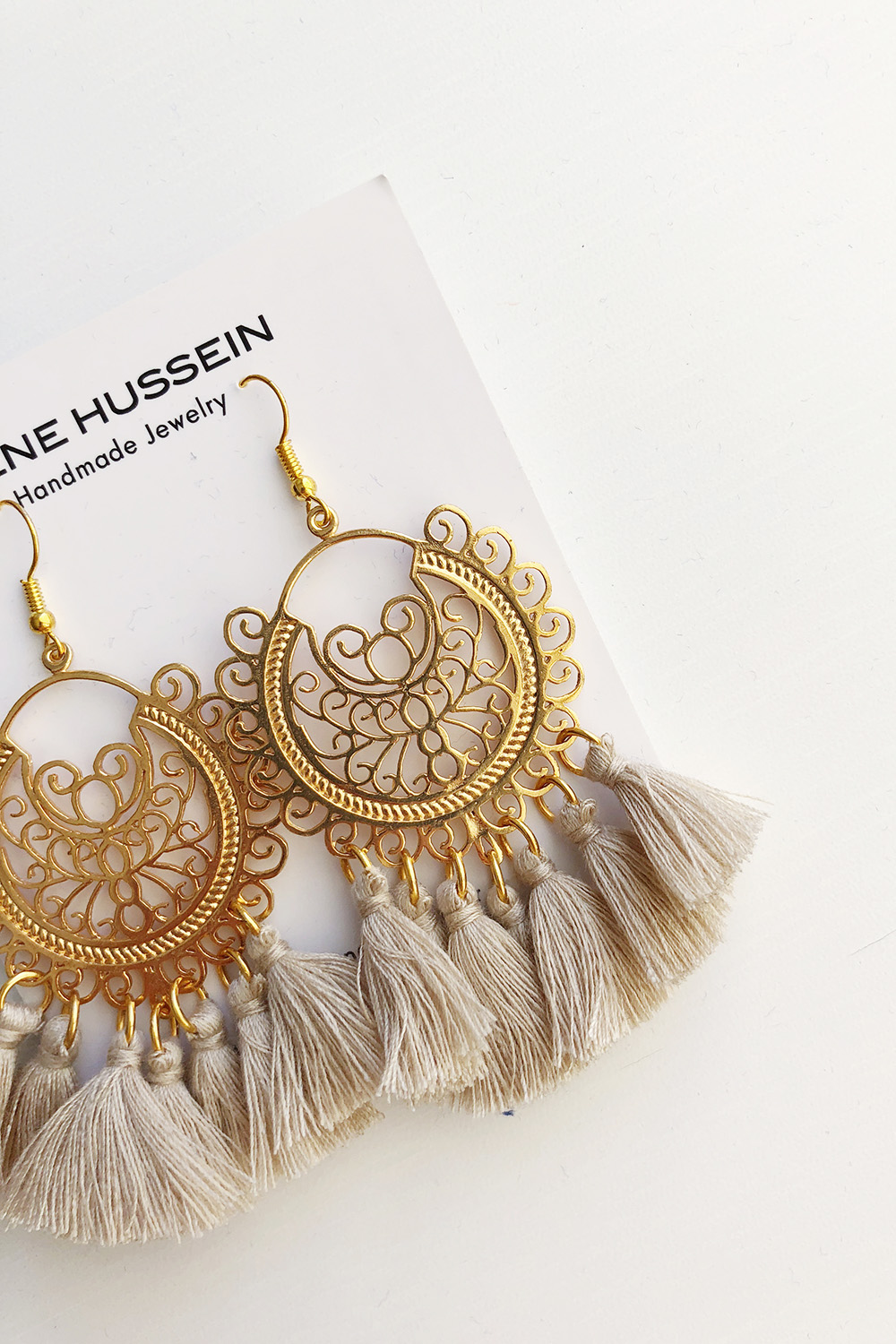 Gold & Beige Earrings